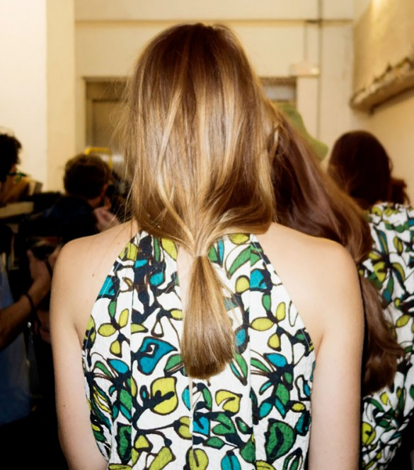 The perfect low pony backstage at Christian Wijnants