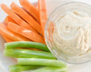 Healthy Snack Carrots celery and hummus