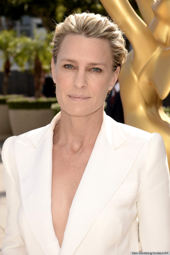 Robin Wright arrives at the 66th Primetime Emmy Awards at the Nokia Theatre L.A. Live on Monday, Aug. 25, 2014, in Los Angeles. (Photo by Dan Steinberg/Invision for the Television Academy/AP Images)