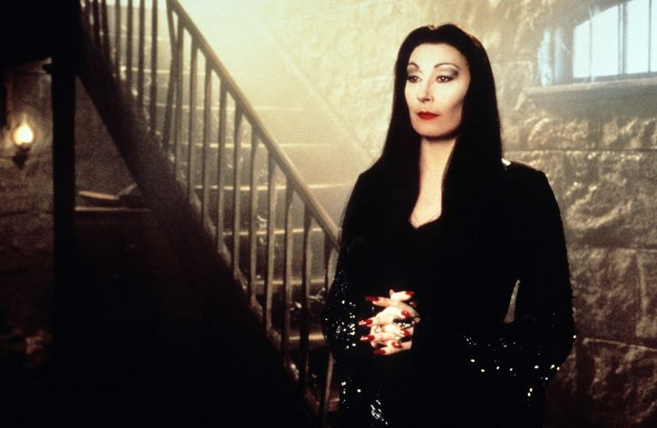 Angelica Huston as Morticia Addams in The Addams Family.