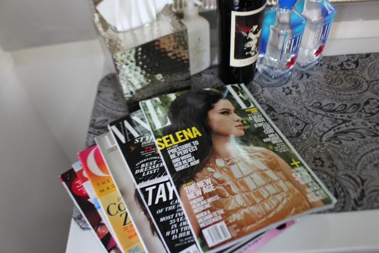 Assortment of beverage options + magazines are always available for my clients